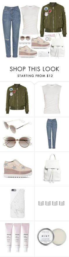 """""""Untitled #1663"""" by samikayy76 ❤ liked on Polyvore featuring Topshop, Alexander Wang, Christian Dior, STELLA McCARTNEY, Mansur Gavriel, Native Union, Maison Margiela and Glossier"""