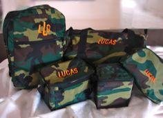 Personalized CAMO Collection Backpack, Traveler, Duffel Lunch Box      www.pollywallydoodle.com