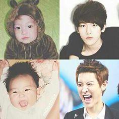 Mini bacon and mini sanyol VS a lil bit older bacon and sanyol. Baekyeol, Chanbaek, Baekhyun Chanyeol, Exo K, Cnblue, Btob, U Kiss, Exo Members, Chinese Boy