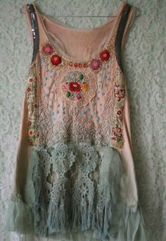 Faye 1920 inspired romantic tunic hand embroidered by FleurBonheur, $218.00