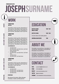 Creative CV template by Doric Design Spruce up your CV and stand out from the rest! Creative Cv Template, Resume Template Free, Creative Resume, Unique Resume, Templates Free, Cv Examples, Good Resume Examples, Resume Ideas, Cv Ideas