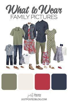 What to Wear for Family Pictures - 8 Different Look Ideas - Fall Family Picture Outfits, Family Picture Colors, Family Portrait Outfits, Family Picture Poses, Colors For Family Pictures, Family Portraits, Extended Family Pictures, Family Pictures What To Wear, Summer Family Pictures