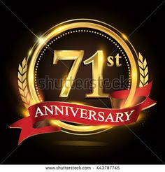 71st golden anniversary logo, 71 years anniversary celebration with ring and red ribbon, Golden anniversary laurel wreath design. - stock vector