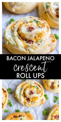 These Bacon Jalapeno Crescent Roll Ups are an easy appetizer or dinner recipe that are always a crowd favorite. They are made with canned crescent dough, bacon, cream cheese, garlic powder, green onions, chopped jalapenos, and shredded cheddar cheese. Roll Ups Recipes, Bacon Recipes, Spicy Recipes, Cooking Recipes, Delicious Recipes, Bacon Appetizers, Finger Food Appetizers, Appetizer Recipes, Easy Dinner Recipes