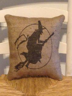 Halloween Witch Pillow Burlap Pillow by DaisyPatchPrimitives