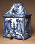 Cistern in the shape of a house, with silver spigot, Delft, c.1700 (tin-glazed earthenware)