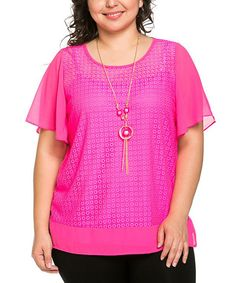 Love this Essential Collection Pink Circle Crochet Scoop Neck Top & Necklace - Plus by Essential Collection on #zulily! #zulilyfinds