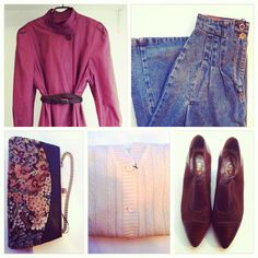 Vintage cotton outerwear, vintage denim skirt, vintage leather/fabric purse, vintage knit, vintage suede/leather shoes. All available in Beware of Limbo Dancers... find us on Facebook..