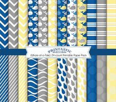 WHALE Printable Paper Pack in Navy and Yellow by PrintasticDesign, $5.00