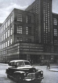 Gmach Głównego Urzędu Komunikacji Międzymiastowej przy Nowogrodzkiej 45 (róg Poznańskiej) we wczesnych latach '50 Warsaw, Poland, Nostalgia, Architecture, City, Building, Lost, Colours, Shapes