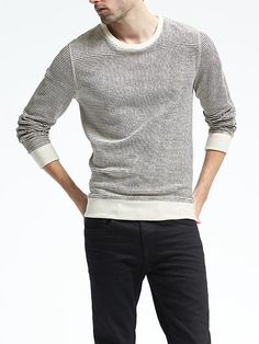 Stripe French Terry Sweatshirt men's fashion and style
