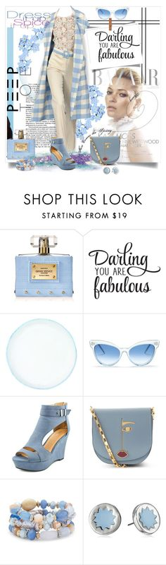 """""""Darling Baby Blue Peeps"""" by wanda-india-acosta ❤ liked on Polyvore featuring Versace, canvas, Oscar de la Renta, Wildfox, Lulu Guinness, Chico's and House of Harlow 1960"""