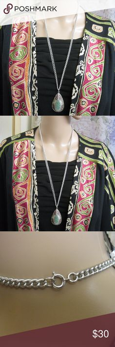 "SARAH COVENTRY Long Pendant Necklace ~ Book Piece Fabulous signed SARAH COVENTRY 1960s long pendant necklace. Teardrop pendant has turquoise beads in the center with amethyst and clear chaton rhinestones hand set in outside sections.  Pendant has a ring attachment to the silver tone curb chain.  Secure spring ring clasp. This piece is featured in Clements ""Sarah Coventry Jewelry"", page 157 with a value of $55. - $65. Silver curb chain: 28"".  Pendant: 2 1/2""l  x 1 3/8""w x 7/16"" d.  Signed ""©…"