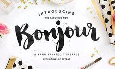 """De esto me gusta como jugaron con la tipografía.  Quiero Femelist en caligrafía y el EST. 2015 y Great Women en letra """"clásica"""". Además, me gusta que aunque hay 4 lineas alrededor del """"Bonjour"""" no se ve cargado, hay balance."""