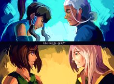 Korra with Aang's old masters by Bambz Art (http://bambz-art.tumblr.com)