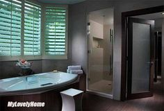 Waterproof Shutters For Shower Windows - Bathroom Treatment Window In Shower, Bath Or Shower, Wooden Shutters, Window Shutters, Wooden Bathroom, Bathroom Ideas, California Shutters, Plastic Curtains, Brown Image