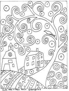 Rug Hook Paper Pattern Swirl Tree House Barn Folk Art Abstract by Karla G Folk Embroidery, Paper Embroidery, Embroidery Patterns, Rug Hooking Patterns, Mosaic Patterns, Colouring Pages, Coloring Books, Coloring Sheets, Mandala Coloring