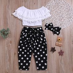 Check out this great stuff I just found at PatPat!-- Fashionable Off Shoulder Pompon Flounced Top and Polka Dots Pants Set Kids Frocks, Frocks For Girls, Dresses Kids Girl, Little Girl Outfits, Toddler Girl Outfits, Kids Outfits, Toddler Girls, Baby Outfits, Kids Girls