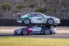 STRANGE RACING DANGERS - BIZARRE CRASH AT PORSCHE CARRERA CUP RACE IN FRANCE CRASHED AND ONE PORSCHE LANDS PERFECTLY ON TOP OF ANOTHER!
