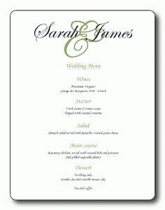 Sample Wedding Menus Sample Wedding Menu Gannon Invites