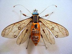 Miniature Winged Insects Made from Discarded Computer Circuit Boards | Junkculture