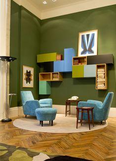 Green + Blue color combination — interior design by Antonio Ferreira Jr & Mario Celso Bernardes