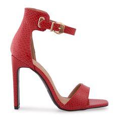 Red Snake Large Gold Buckle Sandal - Shoes   YDE Red Heels, High Heels, South African Fashion, Toe Shape, Block Heels, Open Toe, Snake, Shoes Sandals, Footwear