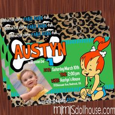 41fabd2618c0158974c1c08a8016fefb pebbles flintstone birthday party ideas custom flintstones birthday party invitations diy printable file,Flintstones Birthday Invitations