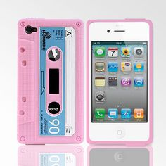 cute pink retro cassette tape iphone 4 cases
