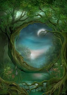 Discovered by purple rose. Find images and videos about art, night and moon on We Heart It - the app to get lost in what you love. Fantasy Kunst, 3d Fantasy, Fantasy Landscape, Fantasy World, Fantasy Witch, Fantasy Images, Moon Magic, Beautiful Moon, Beautiful Things