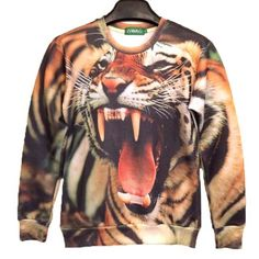 Realistic Roaring Tiger Face Graphic Print Unisex Pullover Sweatshirt  Sweater  8b561dac5