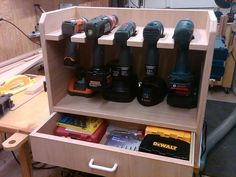 Cordless Drill Storage and Charging Station - by Vincent Nocito @ LumberJocks.com ~ woodworking community