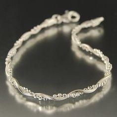 twisted, sterling silver, Italian chain 7 inch bracelet