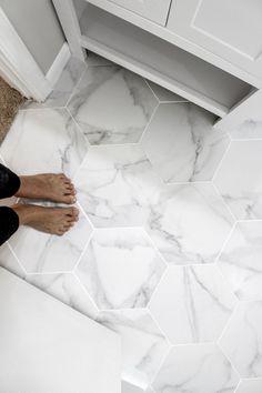 Bathroom Floor Tiles, Basement Bathroom, Master Bathroom, White Bathroom, Ikea Bathroom, Flooring For Bathrooms, Bathroom Tile Patterns, Tile For Small Bathroom, Hexagon Tile Bathroom Floor