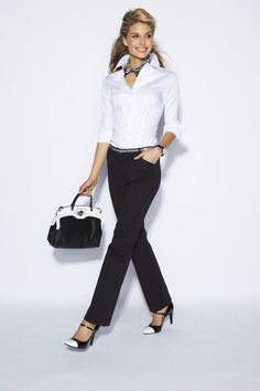 Tailored pants deliver no-nonsense style. #CareerShop #Kohls, love the classic black and white.