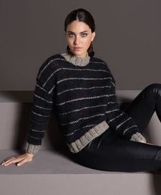 Lana Grossa STREIFNEPULLI GLATT RECHTS Alta Moda Alpaca/Splendid/Silkhair