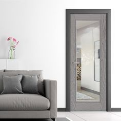 Diez Pearl Grey 1L Door - Raised Mouldings - Clear Glass - Prefinished, a new addition to our range this beautiful pearl grey door is perfect for both residential and commercial properties.    #newdoors ##interiordesign