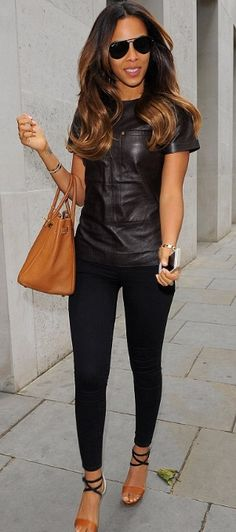 54a4db3c6ba Pop songstress Rochelle Humes arrives at the ME Hotel in London for the  launch of Michelle Keegan s new clothing Black leather top