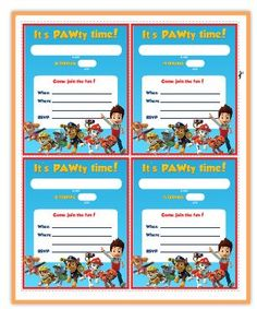Paw Patrol Free Printable Invite Patrouille Party Invitations 4th Birthday Parties