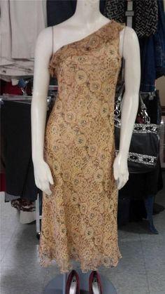 Sz 10 Lauren Ralph Lauren Silk Dress With Ruffled Trim & One Shoulder Strap EUC #LaurenRalphLauren #OneShoulder