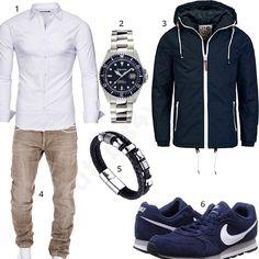 Herren-Outfit mit weißem Kayhan Hemd, Gigandet Uhr, blauer Solid Jacke, beiger Merish Jeans, Halukakah Armband und Nike Schuhen.