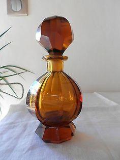 Beautiful Art Deco Czech Amber Glass Perfume Bottle Moser Carlsbad