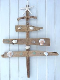 one of a kind driftwood christmas tree i made with beach finds shells sea glass…