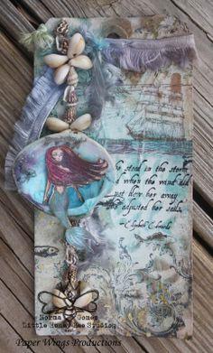 Sea Melange Tag.  Mermaid Mixed Media Collage Tag  #pwp #paperwingsproductions