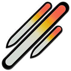 Fingernail file - Mont Bleu Premium Set of 3 Czech Glass Nail Files in Velvet Pouch - Double Sided - Rainbow Colors -...