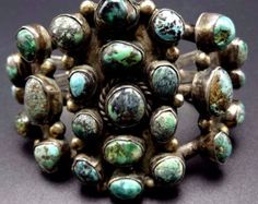 OLD Heavy Vintage NAVAJO Sterling Silver & TURQUOISE Cluster Cuff Bracelet 94g