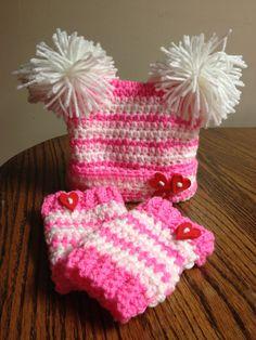 Newborn (0-3 months) baby girl Valentine's Day crochet hat & leg warmer set. $36.00, via Etsy.