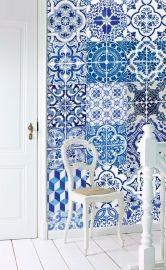 Esta Home Ginger Wallpaper XXL delft blue 158002 | Blauw behang | www.behangwereld.nl