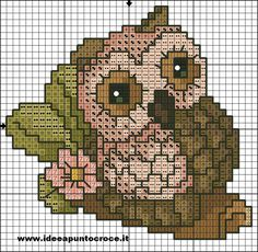 Gufo thun schema punto croce by on deviantart izšuvumi постила. Cross Stitch Owl, Beaded Cross Stitch, Cross Stitch Animals, Cross Stitch Charts, Cross Stitching, Cross Stitch Embroidery, Owl Patterns, Hand Embroidery Patterns, Minnie Baby