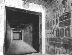 The tomb of Ramesses IX (KV 6), corridor B. Wall relief, scenes from the Book of the Caverns, PM I, 502 (15), and a doorway to corridor C.  Edition Photoglob, The Theban west bank, the Valley of the Kings (c.1890 [Estimated date.])